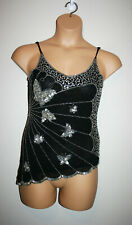 Womens Sexy Silver Sequined Butterfly Assymetrical Spaghetti Strap Top Black S