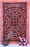 Indian Elephant Mandala Twin Hippie Wall Hanging Tapestry Bed Spread Psychedelic