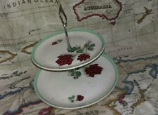 Two teir Cake stand with roses green trim vintage retro afternoon tea wedding