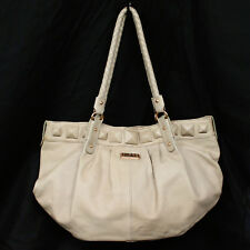 ISABELLA FIORE XLarge Tan Pebbled Leather Pleated Shoulder Tote Braided Handles