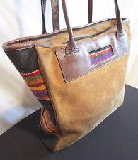 Southwestern Tapestry, Brown Suede & Leather Large Shoulder Tote Handbag