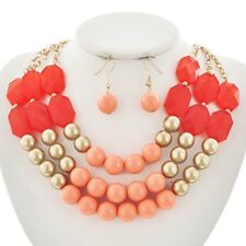 Peach coralt And Gold Bead Necklace Earring Set