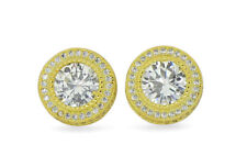 Large Round Studs 15mm Gold Plated Micro Pave XL Cz Hip Hop Screw Back Earrings