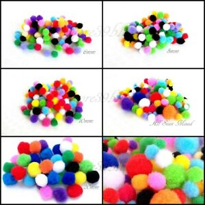 POM POMS CRAFTS Colourful Mixed Sizes 6mm 8mm 10mm 20mm Cardmaking TOP QUALITY