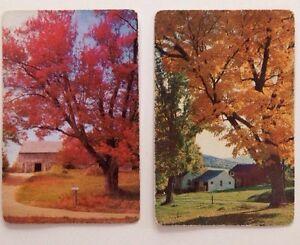 Vintage American Country Side Pretty Scenery Playing Swap Card Barn Farmyard