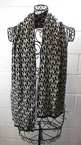 MICHAEL KORS Black White Signature Monogramed MK Classic Knit Scarf