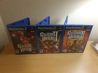 PLAYSTATION 2 - GUITAR HERO GAME BUNDLE - 1, 2, 3 - COMPLETE WITH MANUALS