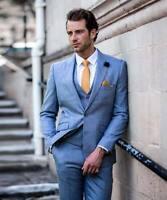 Mens Cavani 3 Piece Tweed Suit Blue Check Wedding Slim Tailored Peaky Blinders