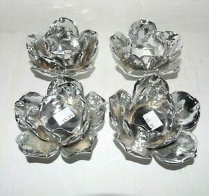Set Of 4 Silver Glass Rose/Flower Shaped Tealight Candle Holders
