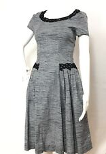 Myrtlewood Modcloth Dress XS A Line Retro Gray Rockabilly Pinup