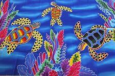 Sarong Handpainted Hawaiian Honu Turtles Ocean Coral Reef Pareo Skirt Wrap Dress