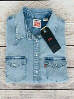Levi's Women's Ultimate Western Pearl Snap Button Down Denim Shirt Sz M NWT