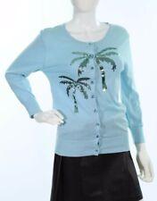 Charlotte Tarantola Women's Aqua Palm Tree Sequin Cardigan sz L $147