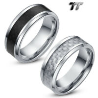 TT Stainless Steel Black/White Fibre Wedding Band Ring Mens & Womens (R277) NEW