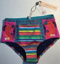 NEW NANETTE LEPORE Bikini Swim Bathing Suit BOTTOMS Small S Pink Stripe Floral