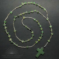 Green Quartz Crystal Rosary Beads With Green Quartz Crystal Cross Casa Brazil