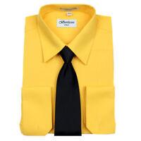 Men's Berlioni Business French Cuff Tie Set Gold Dress Shirt And Black