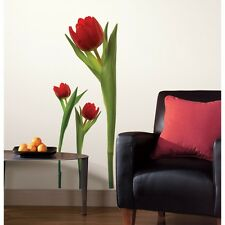 RED TULIPS GiaNT WALL DECALS Tulip Stickers NEW Room Flowers Decorations Decor