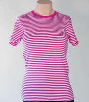 Ralph Lauren Pink White Striped Stretch T Shirt NWT