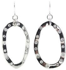 £25 Celtic Tribal Boho Silver Oval Hoop Drop Earrings Swarovski Elements Crystal