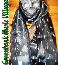 Scarf Musical - Black Music Treble Clef Long - novelty gift idea