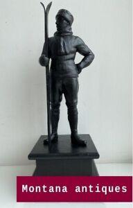 Vintage 1950s Original handmade Soviet Russian Skier Silumin Figurine USSR
