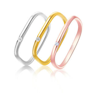 3 Color Unique AAA CZ Square Band Rings Stackable Cocktaile Party Jewelry Women