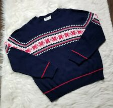 Vintage XL Montgomery Ward Mens Sweater. Blue With Red, White Design.