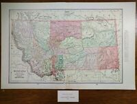 "Vintage 1901 MONTANA Map 22""x14"" ~ Old Antique Original HELENA BILLINGS BOZEMAN"