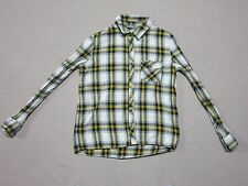 CHECK & STRIPE WOMENS BLACK & YELLOW FLANNEL L/S BUTTON-UP SHIRT SIZE SMALL