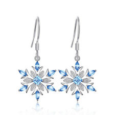 JewelryPalace Snowflake Swiss Blue Topaz Dangle Earrings 925 Sterling Silver