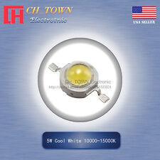 5Pcs 5W Watt High Power Cool White 10000-15000K LED Diodes Lamp Beads Bulb Chip