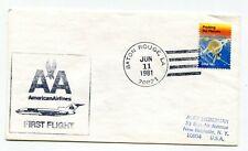 American Airlines First Flight Baton Rouge Louisiana - Dallas DFW Texas - 1981