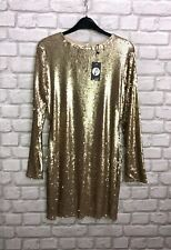 Boohoo Ladies Dress Size 12 Gold Fliss Sequin Bodycon Party New With Tags