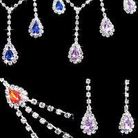 EG_ Women Cubic Zirconia Pendant Necklace Earrings Wedding Jewelry Set Sanwood