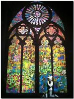 """BANKSY STREET ART *FRAMED* CANVAS PRINT Hooded guy Pray Cathedral 24x16"""""""