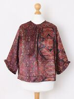 byTiMo by TiMo Women's Size 14 L Satin Paisley Floral Print Loose Blouse Top