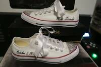 Wedding Day All Star Chuck Taylor Hi Top White Converse w/ Swarovski Crystals