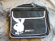 "Playboy Black and White 16"" Shoulder Laptop Bag with Large Bunny Log"