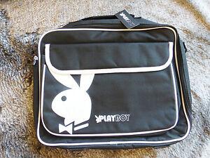 """Playboy Black & White 16"""" Shoulder Strap + Handles Laptop Bag - Large Bunny Logo"""