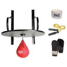 Everlast 6 Piece Boxing Speed Bag Set Platform Swivel Gloves Wraps Drum Box NEW