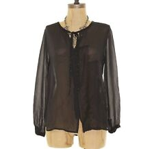 Joie Denise Top Size XS Silk Sheer Button Blouse Beaded Tassels Black $298  B21