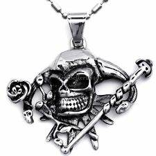 Stainless Steel Gothic Punk Pirate Skull Cross Biker Mens Women Pendant Necklace