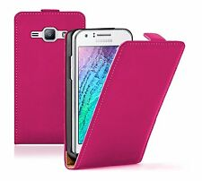 Ultra Slim PINK Leather Case Cover For Samsung Galaxy Duos SM-J100H/DS 2015