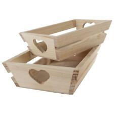 Wooden Heart Gift Hamper Basket Tray Display Platter Bread Snack Crate | 2 Sizes