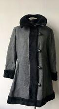 Vtg 60s 70s Women's Grey Wool Valor Black Faux fur trimmed princess coat Large
