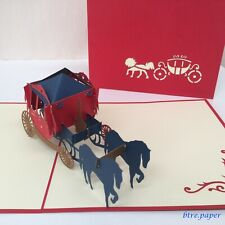 wedding card,engagement,anniversary,love, 3D horse carriage, pop up greeting car