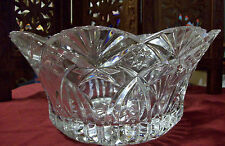 VINTAGE ROUND TOOTH PRESSED GLASS CRYSTAL BOWL WITH STARS