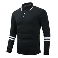 New Men's Long Sleeve Striped Polo Shirt Casual Sport Solid Cotton T Shirt Tops