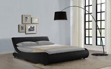 Modern Black Curve Double Size Faux Leather Bed Frame Designer Bedroom Stylist